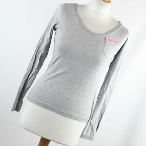 New-Look-Womens-Size-10-Grey-Plain-Cotton-Blend-Basic-Tee
