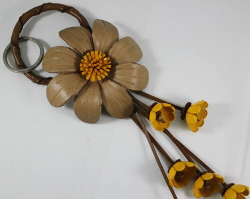 New Brown Yellow Keychain Flower Charm Handmade Genuine Leather Keychain Handbag