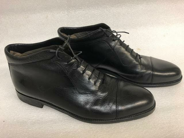 JOHNSON & MURPHY Men's Black Leather High-top Size 12 D, Lace Up Style
