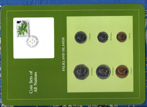 Coin Sets of All Nations Falkland Islands 1 20,50 Pence 1985 UNC 5 10 2