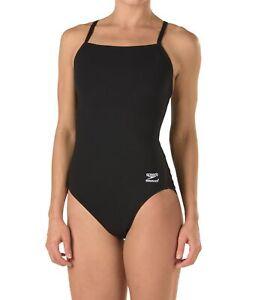 Speedo-Womens-Swimwear-Deep-Black-Size-12-Endurance-One-Piece-Solid-69-273