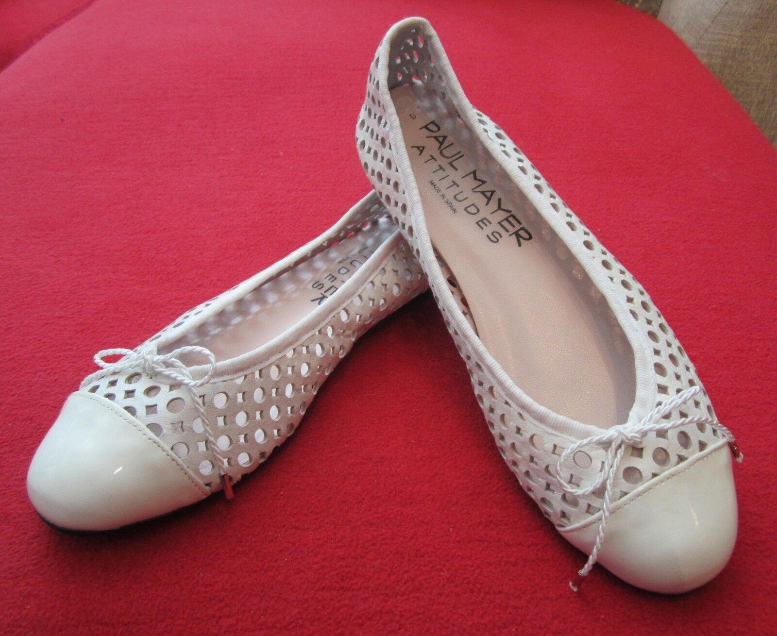 Paul Mayer Attitudini Brandy bianca Perforato Leather Ballet Flats Dimensione  7 - Spagna  vendita con alto sconto