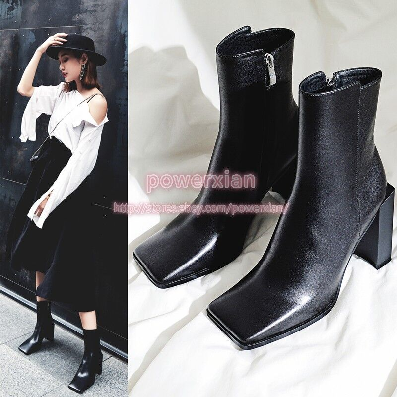Womens square Toe High Heel Punk Street Winter Fashion New Ankle Boots Shoes SH