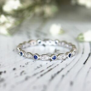 3Ct-Round-Cut-Blue-Sapphire-Diamond-Vintage-Wedding-Band-14K-White-Gold-Finish