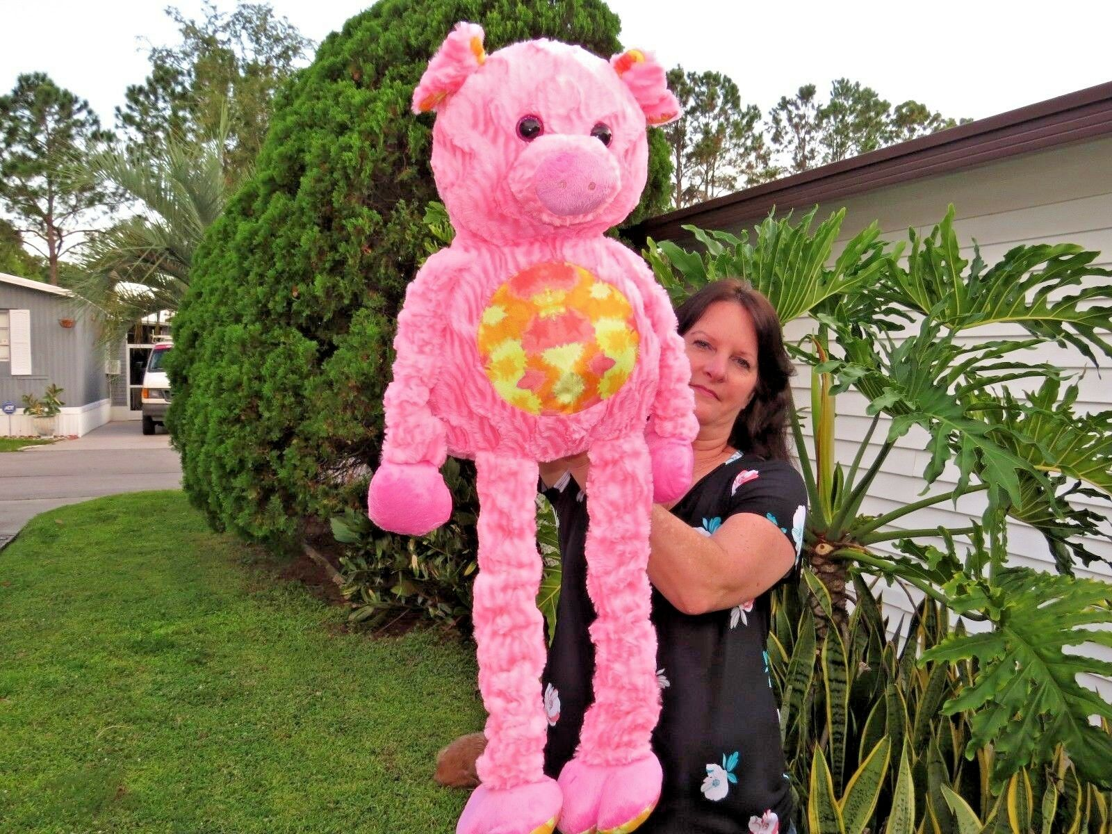 NEW RARE Hugfun International HUGE 37  Pig Stretchy Arms Legs Plush Stuffed Doll