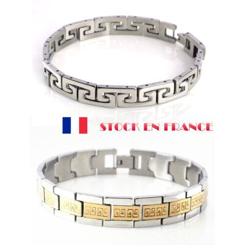 Bracelet Homme Manchette Acier Inoxable Grec Grecque Mode Bijoux Fantasie