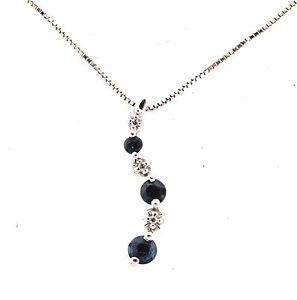 10k white gold blue sapphire diamond journey pendant necklace 075 image is loading 10k white gold blue sapphire diamond journey pendant aloadofball Gallery
