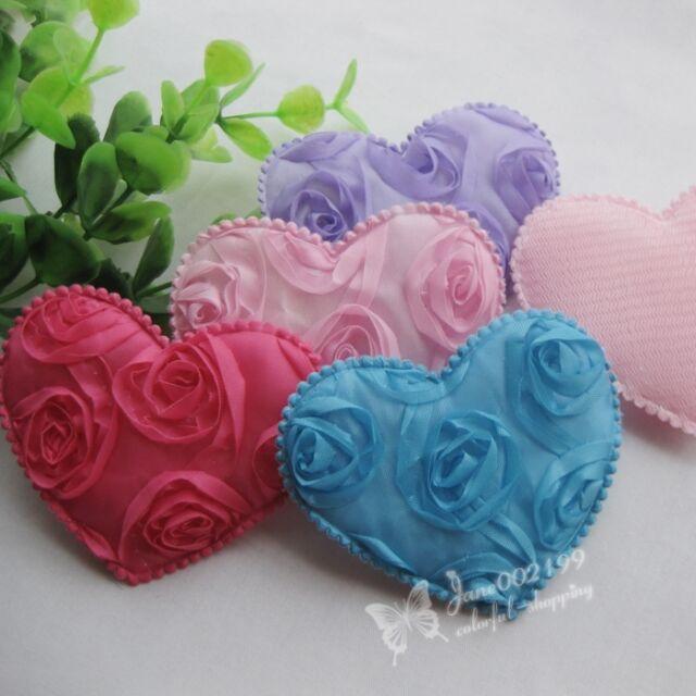 20pcs Mix Big Padded Felt Love Heart Appliques Wedding Decor Sewing Crafts RB107