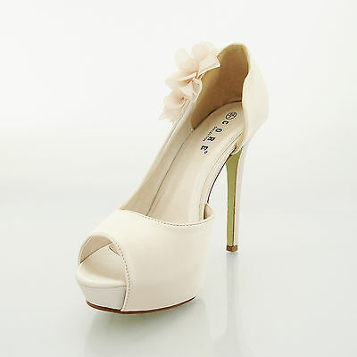 New Ladies High Heel Bridal Party Evening Prom Court Sandals UK Size 3 4 5 6 7 8