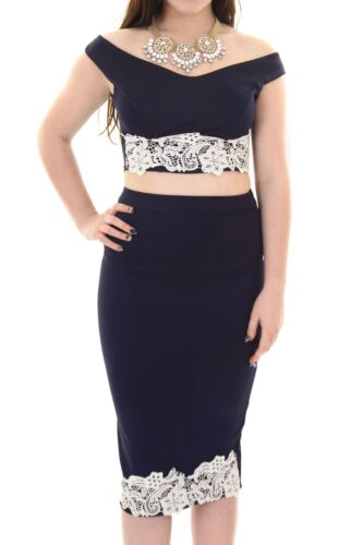 Ladies Celeb Navy Crochet Lace Stretch Bardot Top /& Midi Skirt Two Piece Set