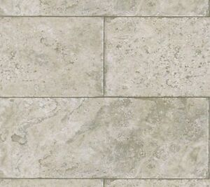 Image Is Loading Pewter Taupe Grey Stone Block Limestone Tile Wallpaper