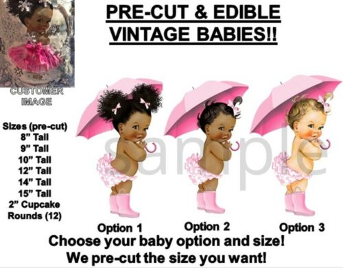 PRE-CUT Pink Umbrella Rain Boots Baby Girl EDIBLE Cake Topper Image Cupcakes