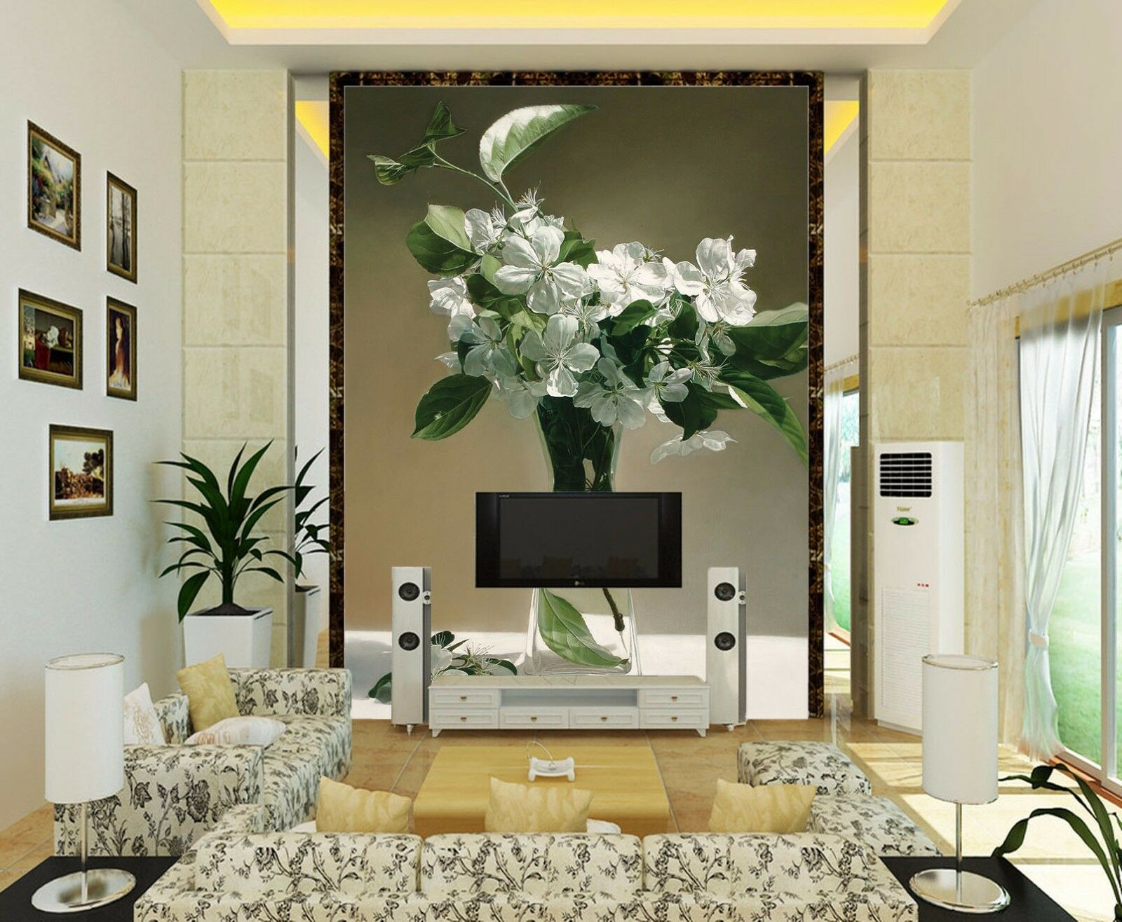 3D Glass vase flowers 7677 Wall Paper Wall Print Decal Wall Deco AJ WALLPAPER