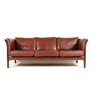 Retro-Vintage-Danish-Modern-Rosewood-amp-Leather-Feather-3-Seat-Seater-Sofa-1970s