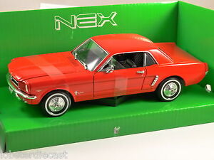 1964-FORD-MUSTANG-COUPE-in-Red-1-24-scale-model-by-WELLY