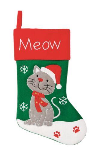 MEOW 41cm Felt CAT Green CHRISTMAS Festive STOCKING