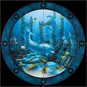 Ceramic-Tile-Mural-Kitchen-Shower-Miller-Undersea-Dolphin-Fish-Art-DMA2036