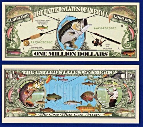 1 R1 GONE FISHING Dollar Bill-Water FUN NOVELTY  W// clear protector sleeve