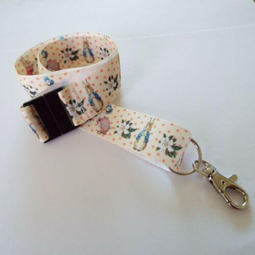 Peter Rabbit Characters Handmade Ribbon Lanyard ID Holder Key chain