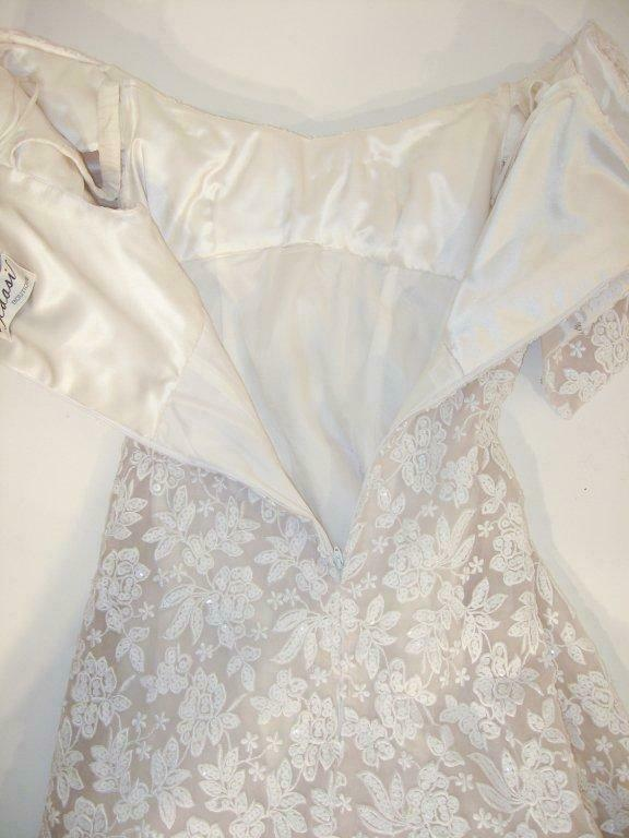ARNOLD SCAASI White Floral Wedding Gown with Sequ… - image 8