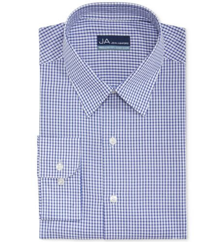 $75 John Ashford Men Regular-Fit White Blue Check Button Dress Shirt 15.5 32//33