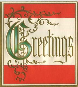 VINTAGE CHRISTMAS ORNAMENTAL LETTERS GREETINGS RED GREEN WHITE EMBOSSED ART CARD