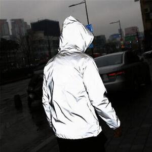Mens Waterproof Reflective Running Jacket Night Overcoat Outwear Windbreaker Hs