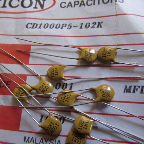 CD1000P5-102 Xicon Ceramic Disc Cap .001uF, 1000V, 10% Radial Lead Qty: 10 piece