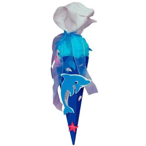 Roth Basteltüte 40cm eckig Delfin-Geschwistertüte Schultüte Zuckertüte Krepp