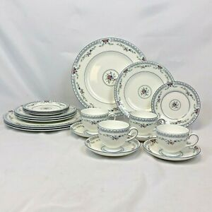 NEW-20-PIECE-SET-WEDGWOOD-ROSEDALE-DINNERWARE-4-FIVE-PC-PLACE-SETTINGS-FREE-SHIP