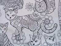 Cat Coloring Animal Pet Black White Timeless Treasures Cotton Fabric Yard
