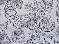 Cat Coloring Animal Pet Black White Timeless Treasures Cotton Fabric Yard