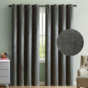 2-Blackout-Window-Curtains-Gray-Velour-Velvet-Grommet-Panel-Pair-Drapes