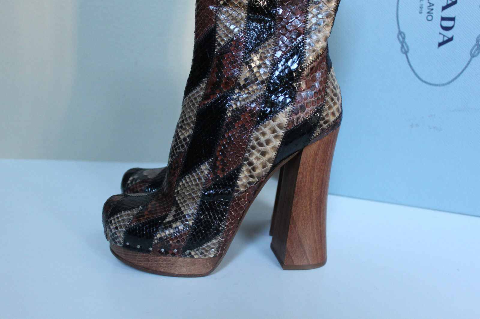New sz 9.5   39.5 Prada Runnway Runnway Runnway Brown Leather Genuine Python Boot Womens shoes e369a3