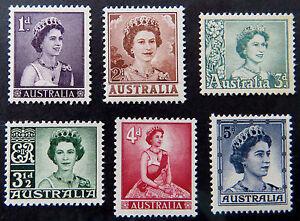 1959-64 Australian Pre Decimal Stamps: Definitives Queen Elizabeth II-Set 6 MNH