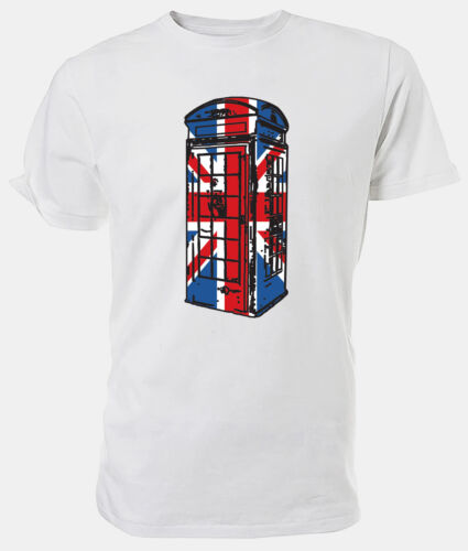 Best of British Choice of size /& colours! Union Jack Phone Box T shirt