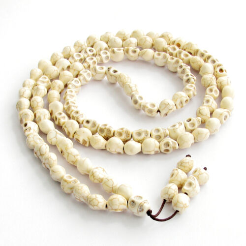 - 10mm*8mm Howlite Turquesa Calavera oración budista tibetano Beads Mala Collar 108