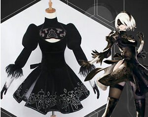 HOT Anime NieR:Automata 2B Uniforms Black Cosplay Costume + Sock APRG Dress