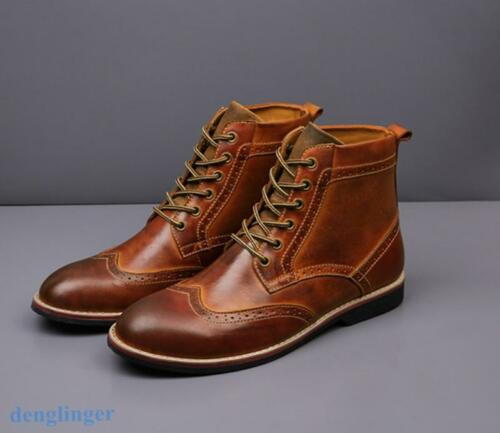Fashion Mens Carved  Retro Brogue Shoes Wingtip Lace Up Casual Chic Ankle Boots