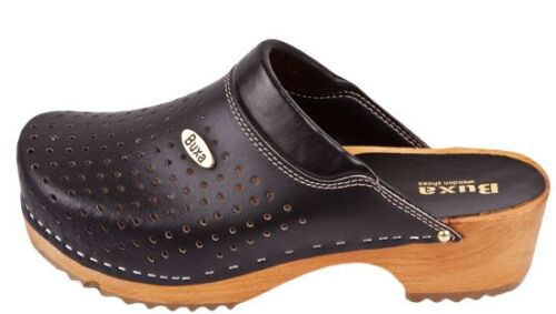 Women  Wooden leather clogs  Black color   F11