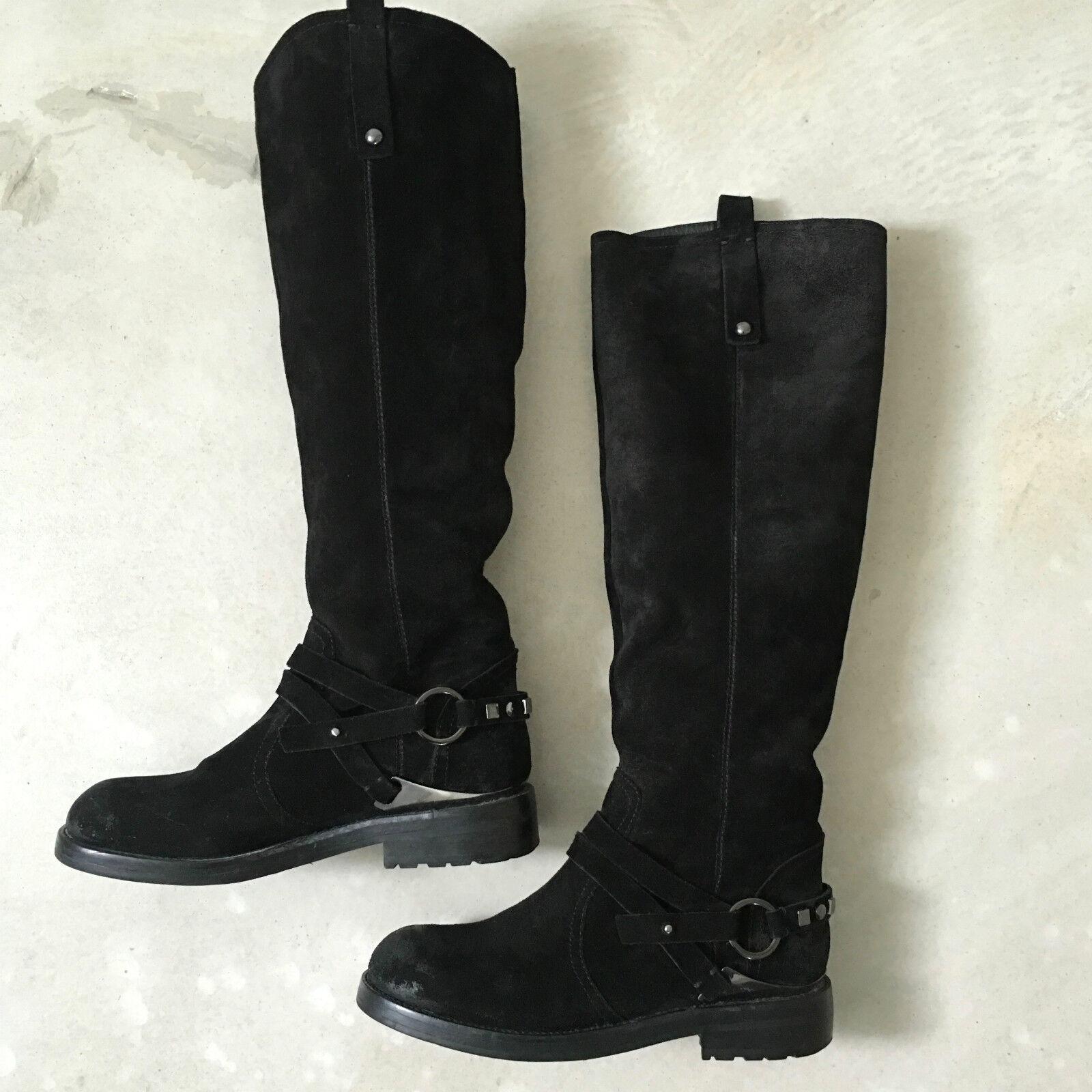 Stiefel Leder, aus Leder, Stiefel Damen, Größe 38, Schwarz 7cce39