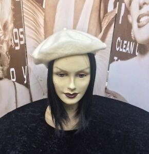 2a6cd7329bb32 Image is loading Ladies-Vintage-Wool-Beret-Hat-Cream-54cms