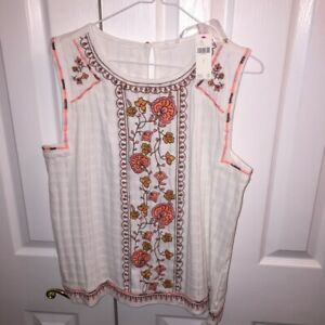 Anthropologie-Womens-Tank-Top-Multicolor-Floral-Scoop-Keyhole-Embroidered-L-New