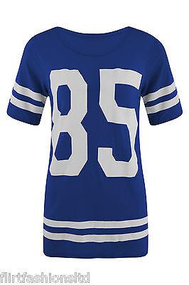 Womens Celebrity Oversized Top Varsity 85 Print Casual Baseball T-Shirt 8 10 12