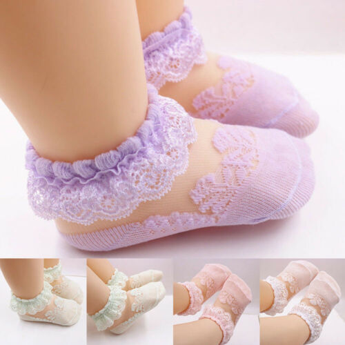Baby Girl Kid Cotton Frilly Lace Socks Breathable Sock Short Cut Boat Ankle Sock