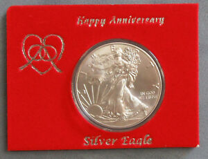 "UNC 2018 Silver Eagle ""HAPPY ANNIVERSARY"" Velour Card & Vinyl Flip Package"