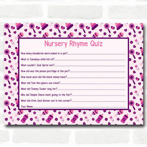 girls pink purple baby shower games nursery rhyme quiz cards ebay