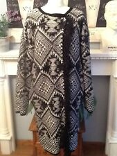 MONSOON COAT/CARDIGAN  THICK KNITTED SPARKLY. Aztec PATTERN FITS 14-16