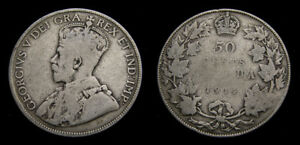 1914-Canada-Silver-50-Fifty-Cent-Piece-King-George-V-G-4-Key-Date