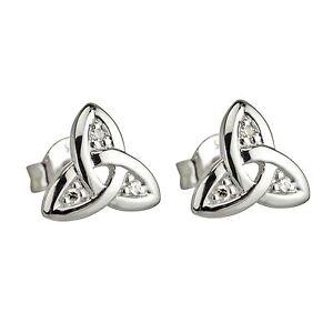 Image Is Loading 14k White Gold Genuine Diamond Celtic Irish Trinity